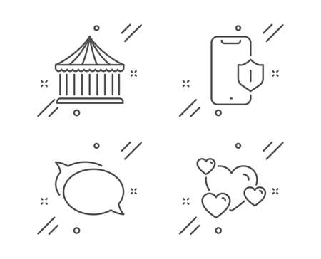 Smartphone protection, Talk bubble and Carousels line icons set. Heart sign. Phone, Chat message, Attraction park. Love rating. Technology set. Line smartphone protection outline icon. Vector