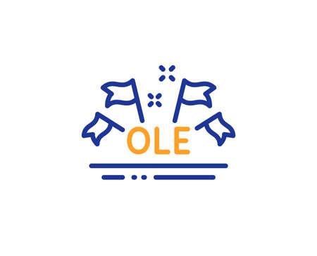 Championnat avec signe de drapeaux. Icône de ligne de chant Ole. Symbole d'événement sportif. Concept de contour coloré. Icône de chant ole fine ligne bleue et orange. Vecteur