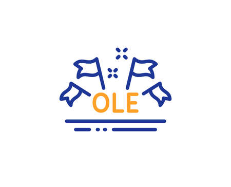 Championship with flags sign. Ole chant line icon. Sports event symbol. Colorful outline concept. Blue and orange thin line ole chant icon. Vector Illustration