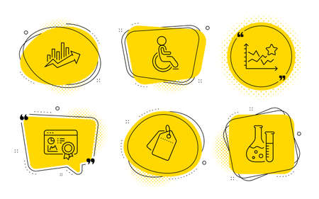 Disabled, Sale tags and Chemistry lab signs. Chat bubbles. Seo certificate, Ranking stars and Growth chart line icons set. Statistics, Winner results, Sale diagram. Handicapped wheelchair. Vector Illusztráció