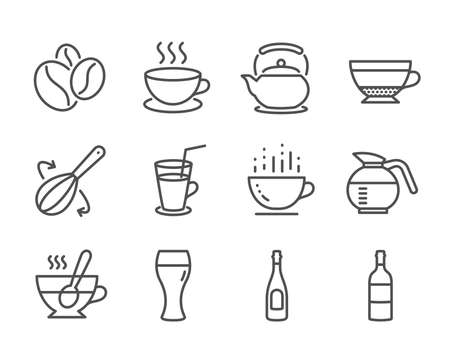 Set of Food and drink icons, such as Coffeepot, Tea cup, Coffee cup, Cocktail, Cooking whisk, Wine bottle, Champagne, Teapot, Dry cappuccino, Beer glass, Coffee beans, Cappuccino. Vector  イラスト・ベクター素材