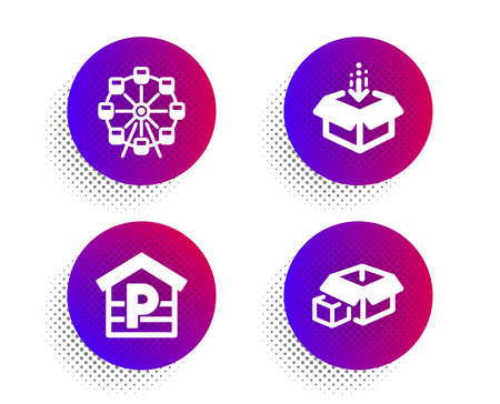 Get box, Parking and Ferris wheel icons simple set. Halftone dots button. Packing boxes sign. Send package, Garage, Attraction park. Delivery package. Transportation set. Vector