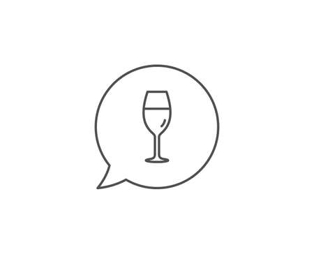 Wine glass line icon. Chat bubble design. Burgundy glass sign. Outline concept. Thin line wineglass icon. Vector