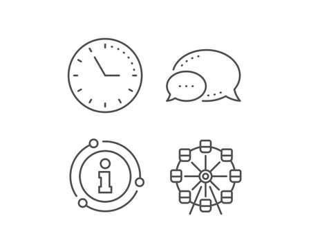 Ferris wheel line icon. Chat bubble, info sign elements. Amusement park sign. Carousels symbol. Linear ferris wheel outline icon. Information bubble. Vector