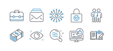 Set of Business icons, such as Artificial intelligence, Survey, Like video, Portfolio, Password encryption, Usd currency, Mail, Skin condition, Health eye, Engineering documentation. Vector Standard-Bild - 134438753