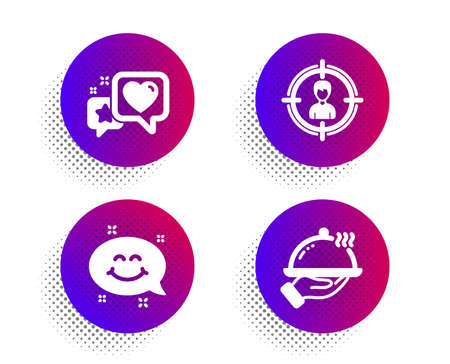 Heart, Smile chat and Headhunting icons simple set. Halftone dots button. Restaurant food sign. Star rating, Happy emoticon, Person in target. Room service. Business set. Vector