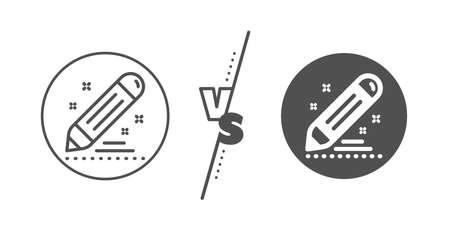 Pencil sign. Versus concept. Brand contract line icon. Edit social marketing report symbol. Line vs classic brand contract icon. Vector