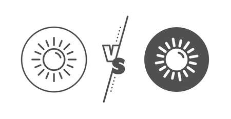 Hot weather sign. Versus concept. Sun line icon. Summer symbol. Line vs classic sun icon. Vector Иллюстрация
