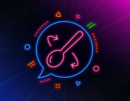 Cooking spoon line icon. Neon laser lights. Cutlery sign. Food mix symbol. Glow laser speech bubble. Neon lights chat bubble. Banner badge with cooking spoon icon. Vector