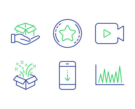 Gift, Loyalty star and Scroll down line icons set. Hold box, Video camera and Line graph signs. New year, Bonus reward, Swipe phone. Delivery parcel. Business set. Line gift outline icons. Vector