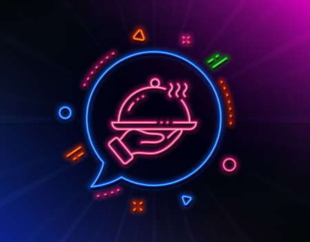 Restaurant food line icon. Neon laser lights. Dinner sign. Hotel room service symbol. Glow laser speech bubble. Neon lights chat bubble. Banner badge with restaurant food icon. Vector