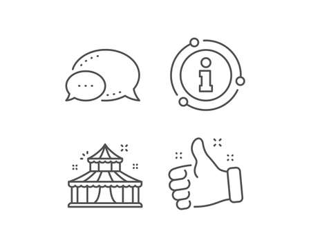 Circus line icon. Chat bubble, info sign elements. Amusement park sign. Linear circus outline icon. Information bubble. Vector