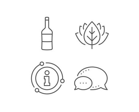 Wine bottle line icon. Chat bubble, info sign elements. Merlot or Cabernet Sauvignon sign. Linear wine outline icon. Information bubble. Vector