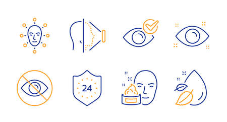 Face id, Face cream and 24 hours line icons set. Check eye, Health eye and Not looking signs. Water drop symbol. Phone scanning, Gel. Medical set. Line face id icon. Vector