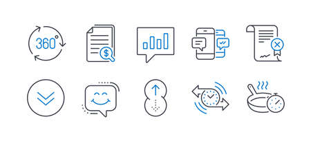 Set of Technology icons, such as Financial documents, Timer, Smartphone sms, Reject certificate, Scroll down, Smile chat, 360 degree, Analytical chat, Swipe up, Frying pan line icons. Vector Иллюстрация