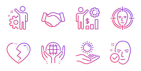 Organic tested, Sun protection and Broken heart line icons set. Employees wealth, Face detect and Employee signs. Handshake, Health skin symbols. Safe nature, Ultraviolet care. People set. Vector