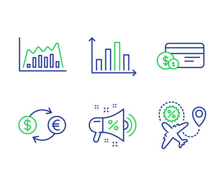 Infographic graph, Currency exchange and Payment method line icons set. Sale megaphone, Diagram graph and Flight sale signs. Line diagram, Banking finance, Cash or non-cash payment. Shopping. Vector