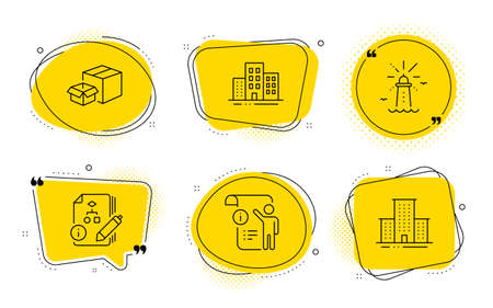 Packing boxes, Lighthouse and University campus signs. Chat bubbles. Manual doc, Buildings and Algorithm line icons set. Project info, Town apartments, Project. Delivery box. Industrial set. Vector