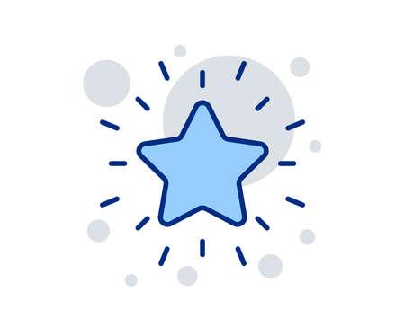 Rank star line icon. Success reward symbol. Best result sign. Linear design sign. Colorful rank star icon. Vector Çizim