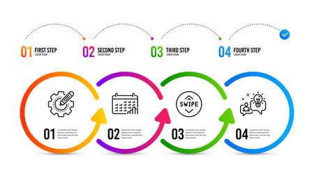Idea sign. Infographics timeline. Settings gear, Calendar graph and Swipe up line icons set. Technology process, Annual report, Scroll screen. Solution. Technology set. Settings gear icon. Vector