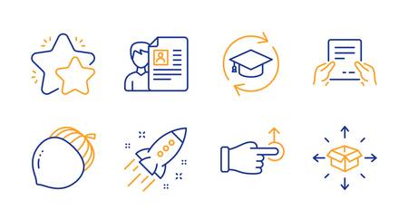 Drag drop, Startup rocket and Star line icons set. Job interview, Receive file and Acorn signs. Continuing education, Parcel delivery symbols. Move, Business innovation. Business set. Vector