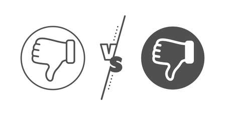 Thumbs down finger sign. Versus concept. Dislike hand line icon. Gesture symbol. Line vs classic dislike hand icon. Vector