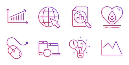 Internet, Chart and Recovery devices line icons set. Local grown, Computer mouse and Time management signs. Analytics graph, Line chart symbols. World web, Backup data. Science set. Vector