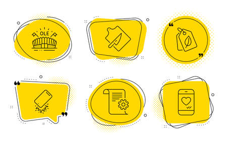 Cutting board, Technical documentation and Love chat signs. Chat bubbles. Sports arena, Bio tags and Smartphone broken line icons set. Event stadium, Leaf, Phone crash. Knife. Vector Ilustração