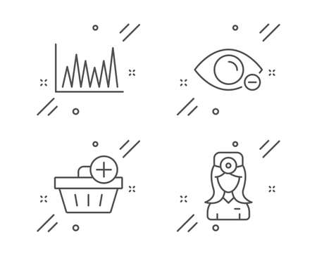 Myopia, Line graph and Add purchase line icons set. Oculist doctor sign. Eye vision, Market diagram, Shopping order. Optometrist. Business set. Line myopia outline icon. Vector