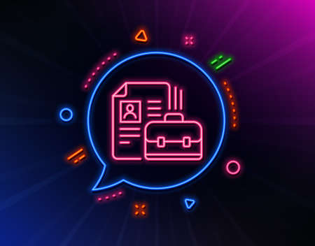 Business case with CV line icon. Neon laser lights. Portfolio symbol. Vacancy or Hiring sign. Glow laser speech bubble. Neon lights chat bubble. Banner badge with vacancy icon. Vector