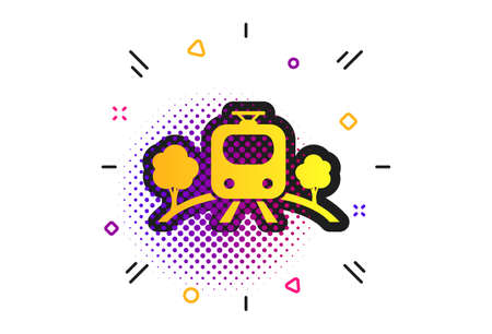 Overground subway sign icon. Halftone dots pattern. Metro train symbol. Classic flat subway icon. Vector