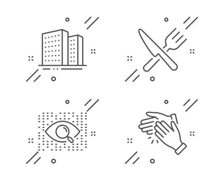 Buildings, Food and Artificial intelligence line icons set. Clapping hands sign. Town apartments, Cutlery, Find data. Clap. Business set. Line buildings outline icon. Vector Ilustração