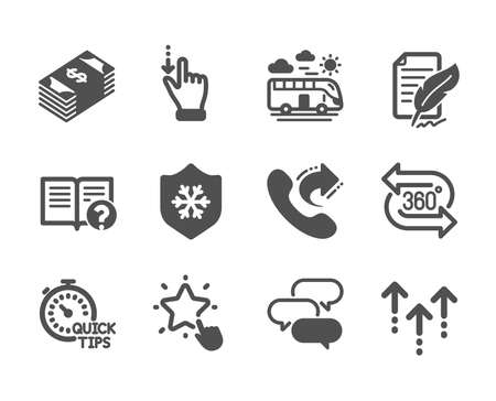 Set of Business icons, such as Usd currency, Quick tips, Swipe up, Clean skin, Help, 360 degree, Talk bubble, Bus travel, Ranking star, Touchscreen gesture, Share call, Feather signature. Vector