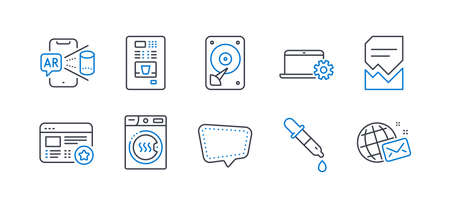 Set of Technology icons, such as Chat message, Hdd, Corrupted file, Dryer machine, Chemistry pipette, Notebook service, Augmented reality, Coffee vending, Favorite, World mail line icons. Vector Ilustração