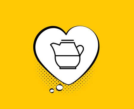 Brocca di latte per l'icona del caffè. Fumetto comico. Segno di bevanda fresca. Simbolo di bevanda. Sfondo giallo con bolla di chat. Icona della brocca di latte. Bandiera colorata. Vettore