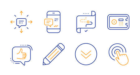 Sms, Target path and Smartphone notification line icons set. Pencil, Safe box and Like signs. Scroll down, Click symbols. Conversation, Business aim. Technology set. Line sms icon. Vector 일러스트