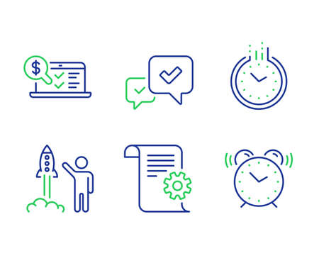 Approve, Launch project and Technical documentation line icons set. Time, Online accounting and Alarm clock signs. Accepted message, Business innovation, Manual. Clock. Education set. Vector Ilustração