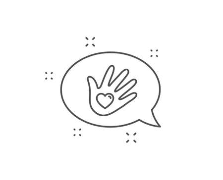 Social responsibility line icon. Chat bubble design. Hand with heart sign. Charity symbol. Outline concept. Thin line social responsibility icon. Vector