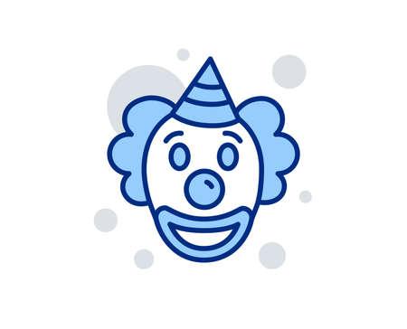Clown line icon. Amusement park funnyman sign. Linear design sign. Colorful clown icon. Vector