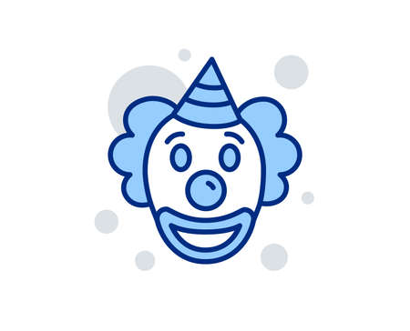 Clown line icon. Amusement park funnyman sign. Linear design sign. Colorful clown icon. Vector