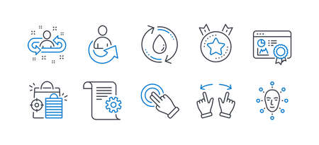 Set of Technology icons, such as Technical documentation, Share, Touchscreen gesture, Refill water, Ranking star, Recruitment, Seo shopping, Move gesture, Seo certificate, Face biometrics. Vector Ilustração