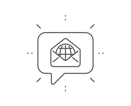 Web Mail line icon. Chat bubble design. Message correspondence sign. E-mail symbol. Outline concept. Thin line web Mail icon. Vector