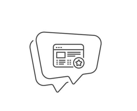 Star line icon. Chat bubble design. Feedback rating sign. Web favorite symbol. Outline concept. Thin line favorite icon. Vector Ilustrace