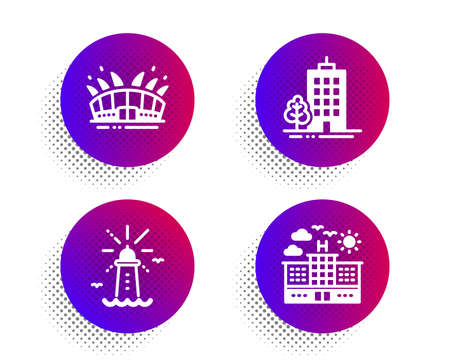 Arena stadium, Lighthouse and Skyscraper buildings icons simple set. Halftone dots button. Hotel sign. Sport complex, Navigation, Town architecture. Travel. Buildings set. Vector