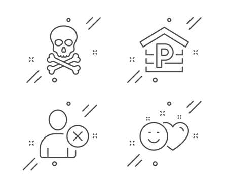 Parking, Chemical hazard and Delete user line icons set. Smile sign. Garage, Toxic death, Remove profile. Social media like. Line parking outline icon. Vector