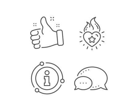 Heart flame line icon. Chat bubble, info sign elements. Love fire emotion sign. Valentine day symbol. Linear heart flame outline icon. Information bubble. Vector Standard-Bild - 135067536