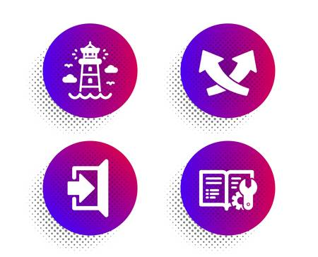 Intersection arrows, Exit and Lighthouse icons simple set. Halftone dots button. Engineering documentation sign. Exchange, Escape, tower. Manual. Industrial set. Vector Ilustração