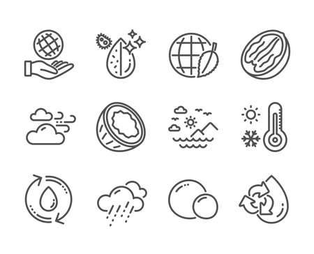 Set of Nature icons, such as Dirty water, Weather thermometer, Coconut, Refill water, Rainy weather, Pecan nut, Environment day, Peas, Safe planet, Sea mountains line icons. Dirty water icon. Vector Foto de archivo - 134439401