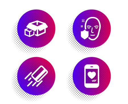 Packing boxes, Face protection and Credit card icons simple set. Halftone dots button. Love chat sign. Delivery package, Secure access, Bank payment. Smartphone. Business set. Vector
