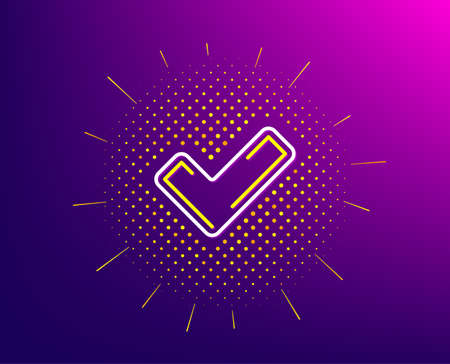 Check line icon. Halftone pattern. Approved Tick sign. Confirm, Done or Accept symbol. Gradient background. Tick line icon. Yellow halftone pattern. Vector